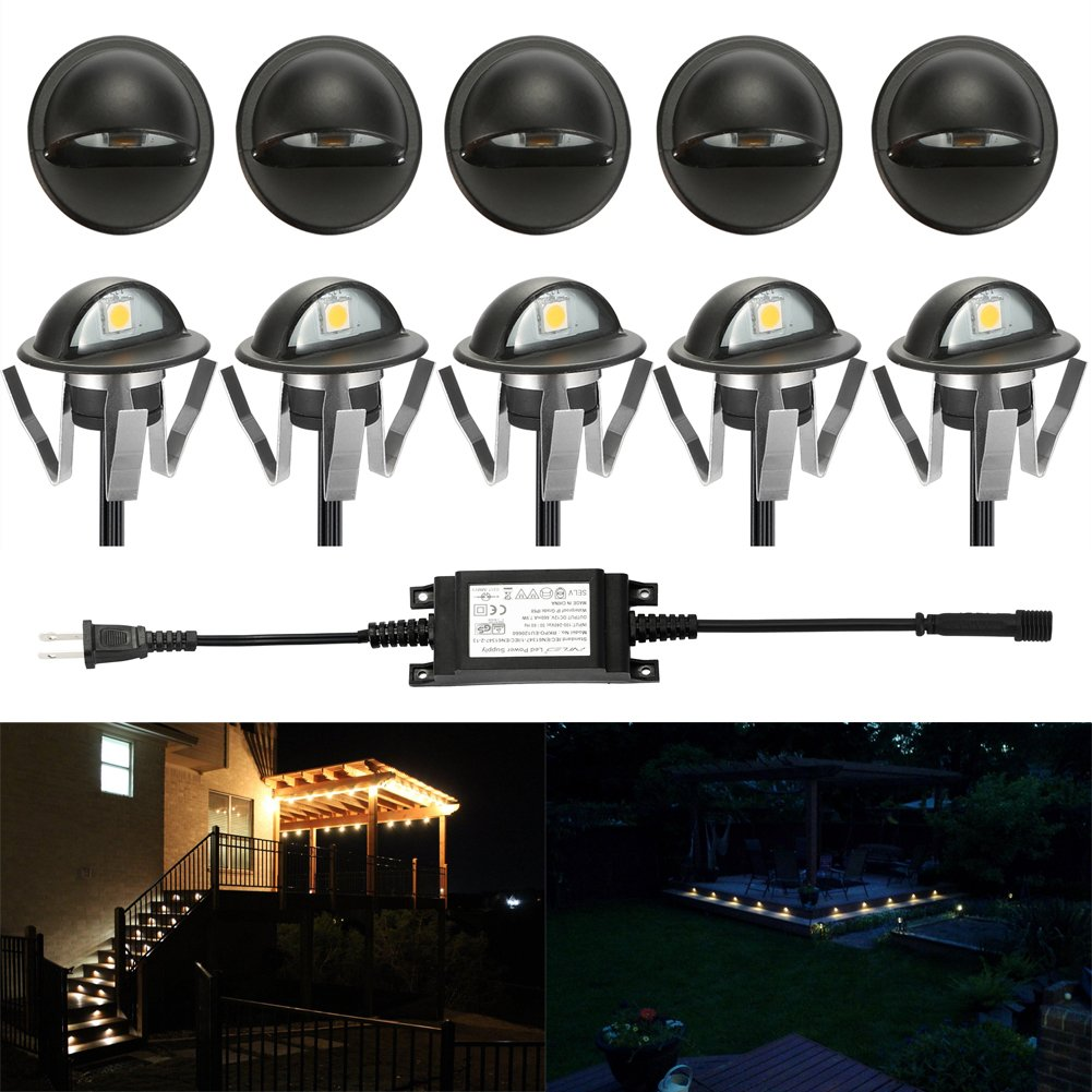 "FVTLED Pack of 10 Warm White Low Voltage LED Deck lights kit Φ1.38"" Outdoor Garden Yard Decoration Lamp Recessed Landscape Pathway Step Stair Warm White LED Lighting, Black"