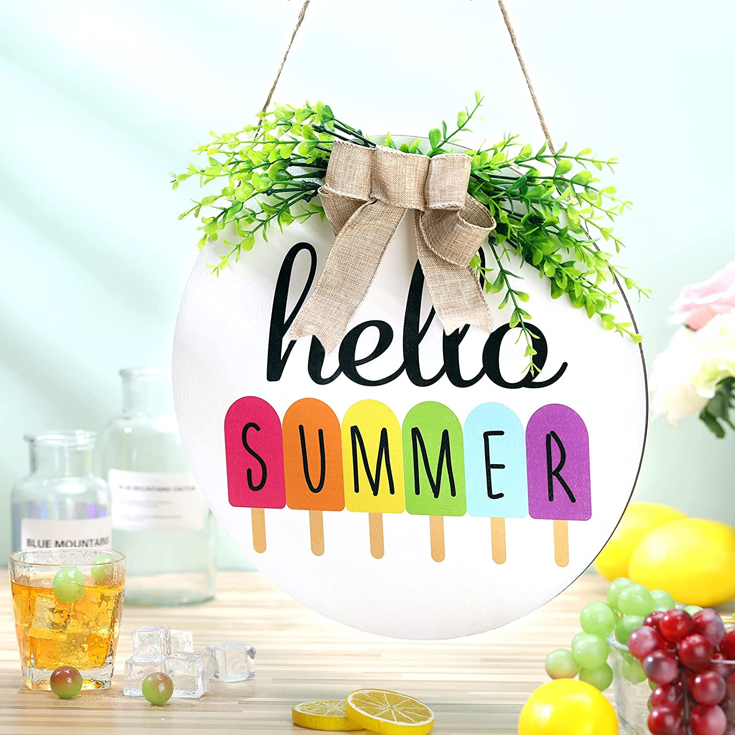 Jetec Hello Summer Door Sign Rustic Popsicle Wooden Door Sign Hanging Round Porch Decor with Burlap Bow Wreaths Front Door Decor for Summer Farmhouse Home Porch Garden Yard Decor, 11.8 Inch (White)