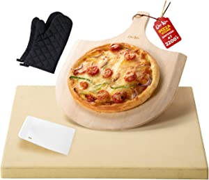 Elevkin Pizza Stone for Oven and Grill/BBQ, Durable Cordierite Grill Pizza Stone with Free Wooden Pizza Peel Paddle and Oven Mitts, 15x12 Inch Baking Stone for Pizza, Bread, Baguette, Pies
