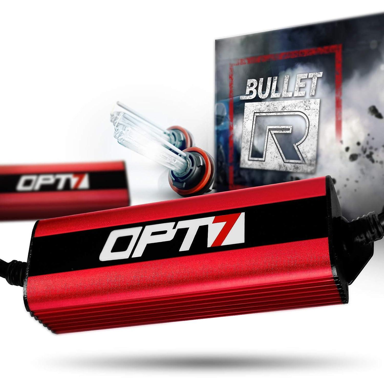 6000K Lightning Blue Light 2 Yr Warranty All Bulb Sizes and Colors 4X Longer Life OPT7 Bullet-R 9007 Bi-Xenon HID Kit 3X Brighter