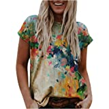 Vintage Floral T Shirts for Women 3D Animal Graphic Tees Short Sleeve Crewneck Summer Casual Tunic Blouses T Shirt Tops