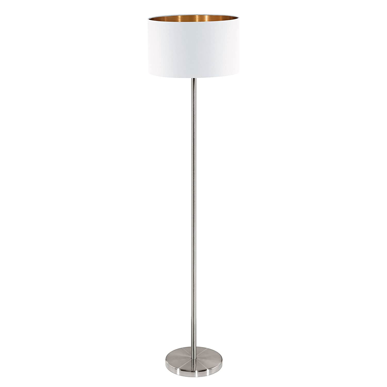 EGLO E27 White/Copper Fabric Floor Lamp with Foot Switch 'PASTERI' [Energy Class E] 95174