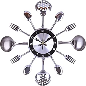 hehuanxiao Wall Clock 35cm Stainless Steel Kitchen Spoon Fork Clock Silent Wall Clock for Home Decor - Silver