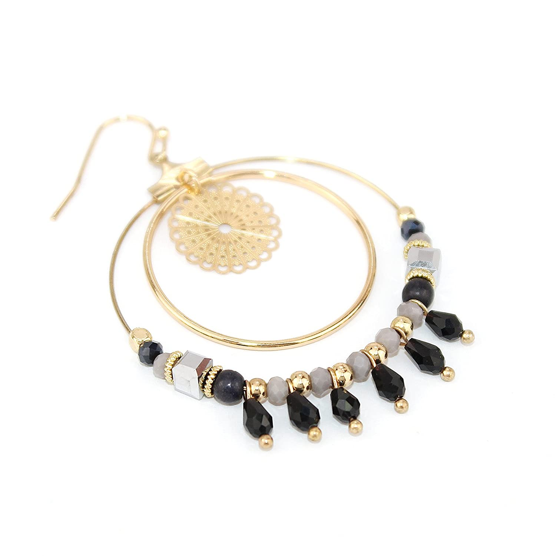 Pomina Boho Style Mixed Beads Multi Circle Drop Earrings for Women
