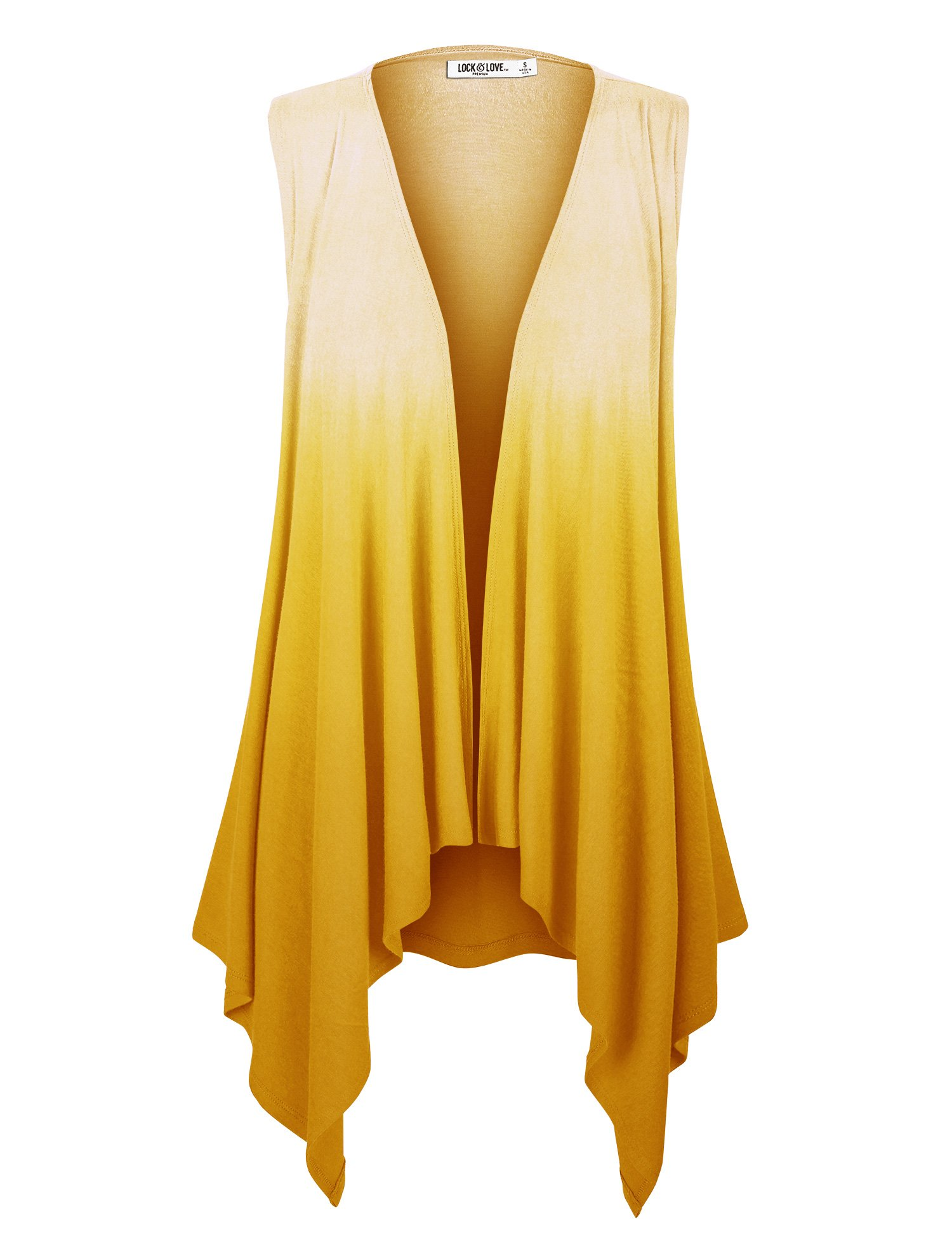 WSK1095 Womens Lightweight Sleeveless Ombre Open Front Cardigan Vest XXL YELLOW