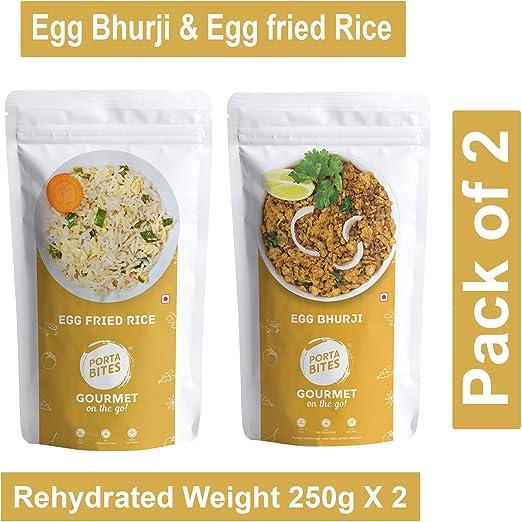 PORTA mordeduras listo para comer Liofilizado Combo de huevo Bhaji ...