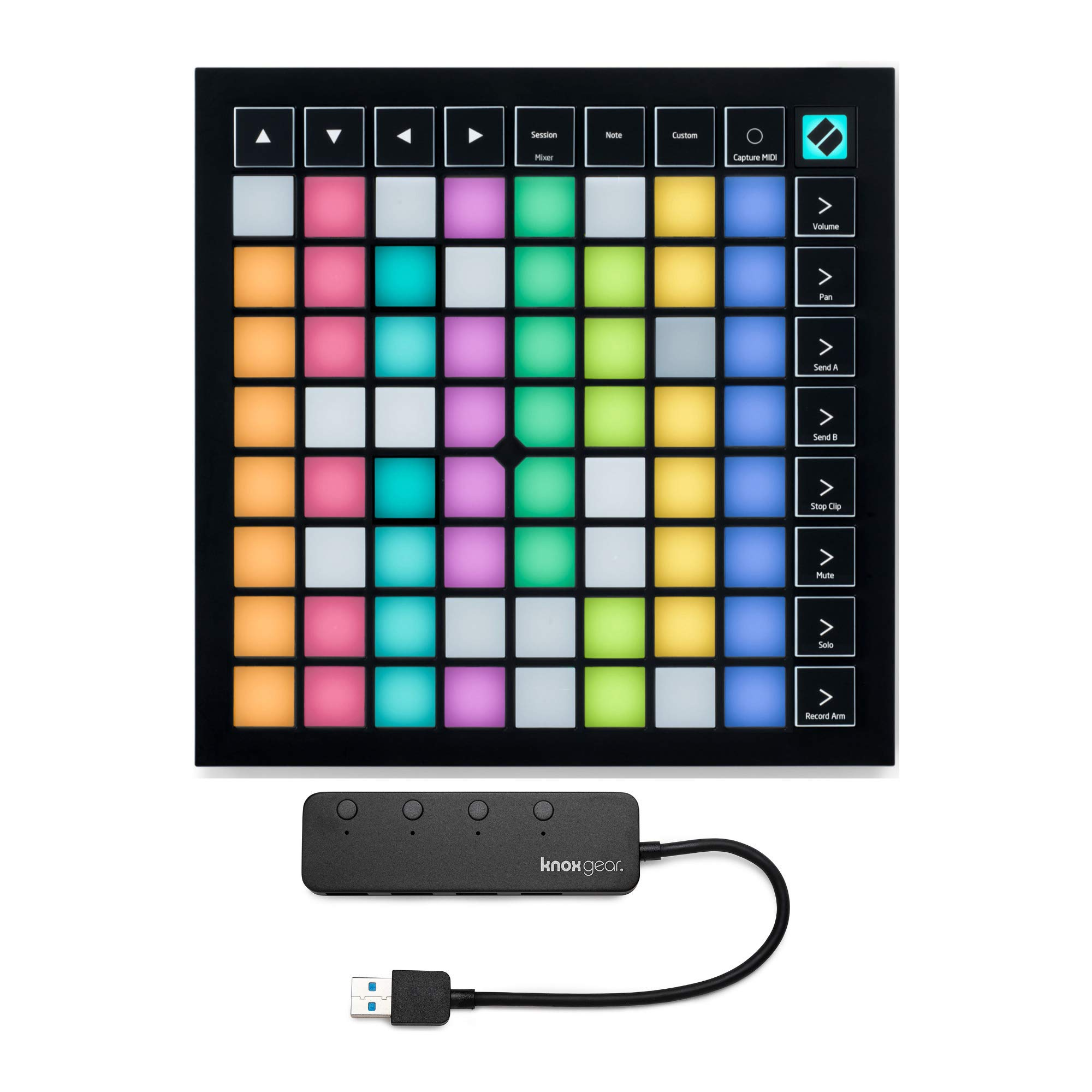 Novation Launchpad X Grid Controller for Ableton Live with Knox 3.0 4 Port USB HUB (2 Items) by Novation