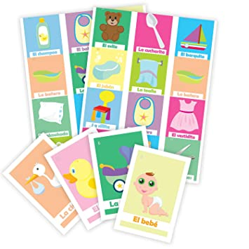 Loteria Baby shower en Español. Deck of cards with 50pc. Bingo Baby Shower game