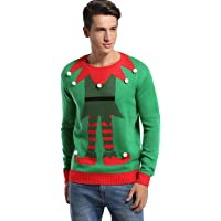 *daisysboutique* Men's Christmas Holiday Fake Cardigan Sweater Cute Elf Ugly Pullover