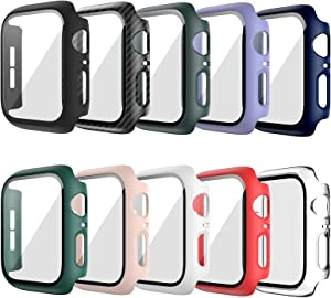 10 Pack Hard Case Compatible For Apple Watch Series 6 40mm SE with Built-in Tempered Glass Screen Protector,JZK Thin Bumper Full Coverage Bubble-Free Cover for iWatch Series SE/6/5/4 40mm Accessories