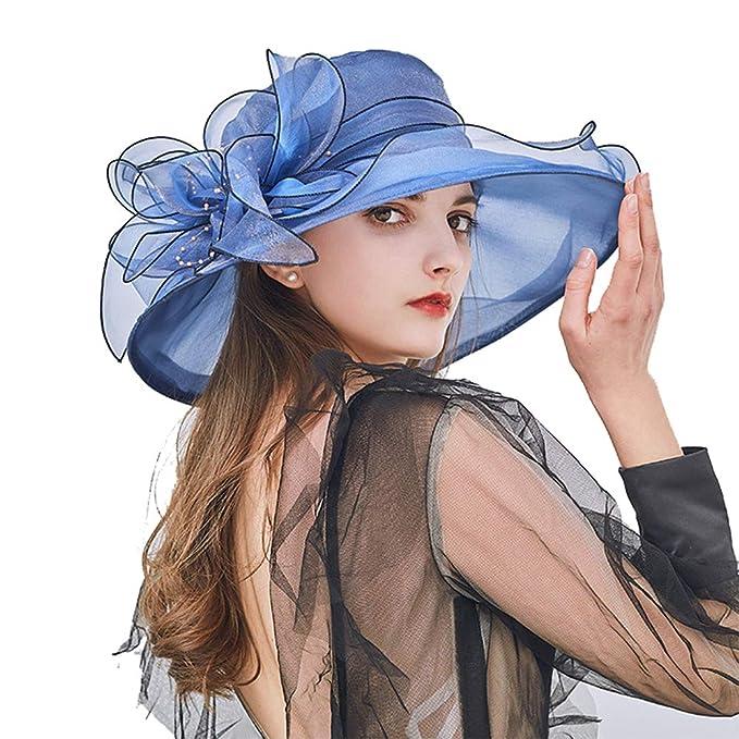 JIAZHOU Sombrero De Visera De Mujer Floral Sombrero De Organza Sombrero De  Sol Transpirable Boda Sombrero 2378a67a6586