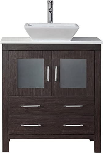 Virtu USA KS-70030-S-ES-001 Dior 30 Single Bathroom Vanity White Engineered Stone Top and Square Sink with Brushed Nickel Faucet and Mirror, 30 inches, Dark Espresso