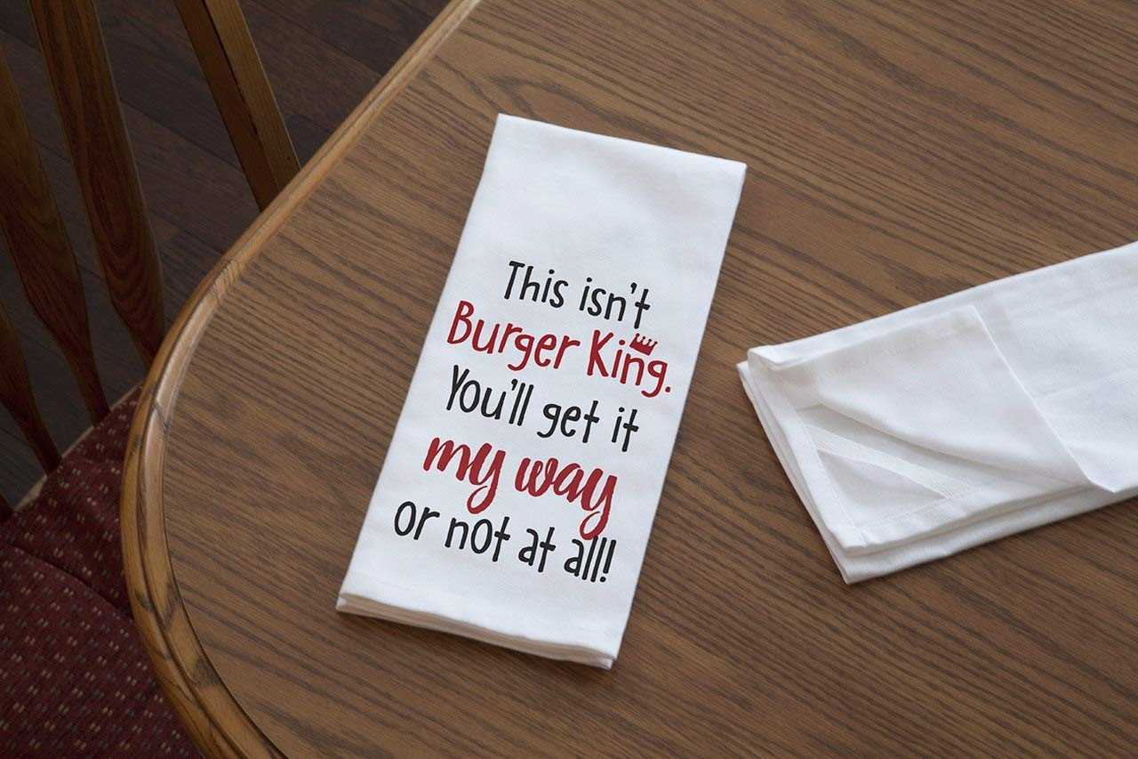 Imagine Design Relatively Funny This Isnt Burger King Red//Black//White Heavy Weight 100/% Cotton Kitchen Towel