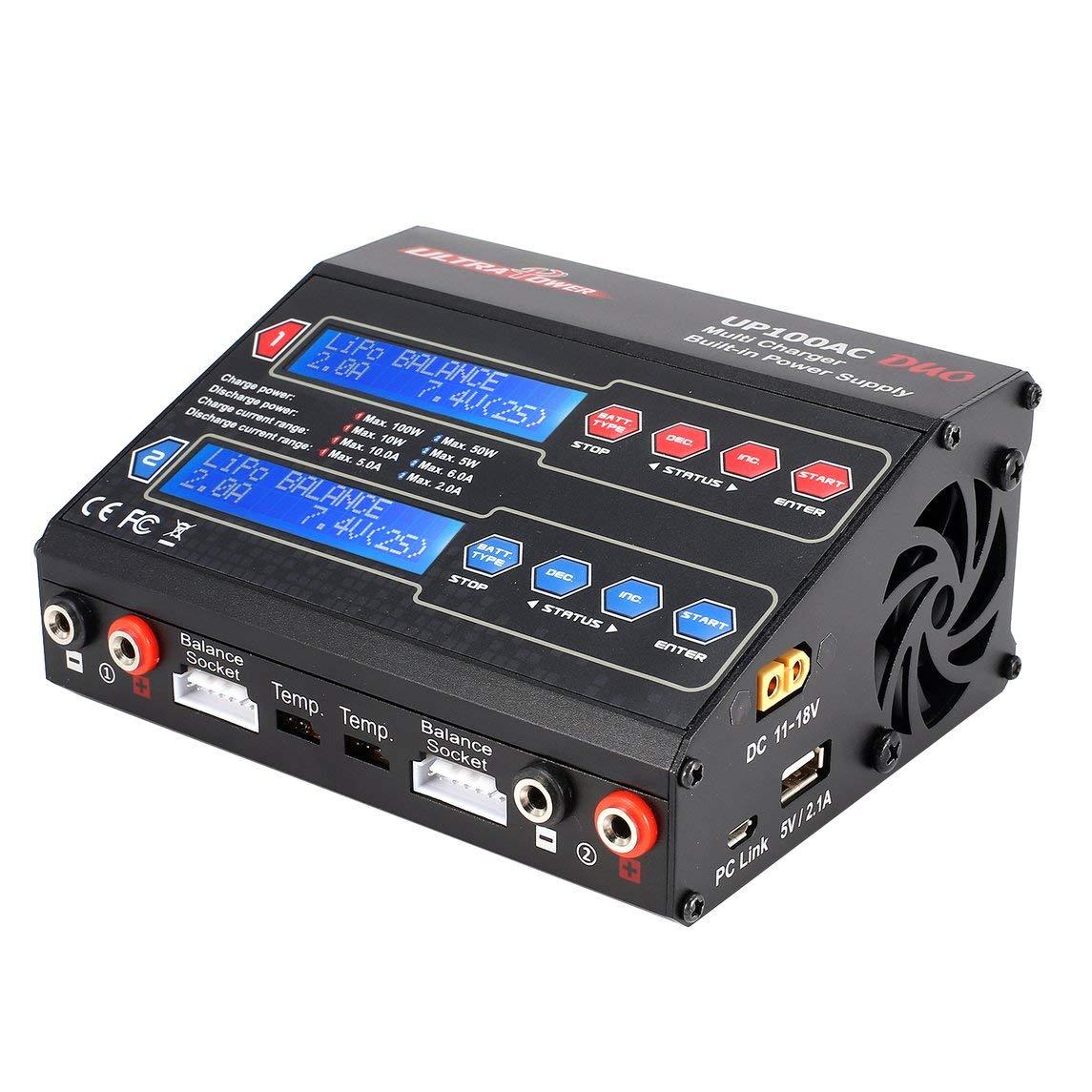 Footprintse Cargador baterias RC;Cargador 7.2v RC Equilibrio Ultra Power UP100AC 100W LiIo/LiPo / Life/NiMH / Nicd Cyclic Color del Cargador: Negro