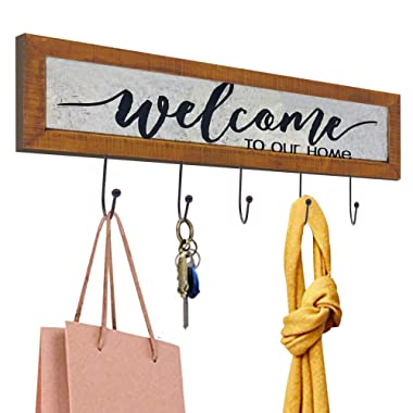 "OUCHAN Key Holder for Wall for ""Welcome to Our Home""- Galvanized Wall Decor Natural Wood Decorative Key Hooks Ring Holder,Rustic Hooks for Hanging for Living Room, Kitchen Wall-Mounted Key Hook Rack"
