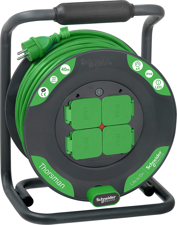 Schneider Electric SC5IMT33156 Enrouleur Bricolage 40m HO5VVF 3G1,5 IP44 Vert