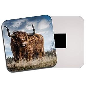 Destination Vinyl Ltd Fluffy Highland Cow Fridge Magnet - Cattle Scotland Scottish Hairy Gift #13165