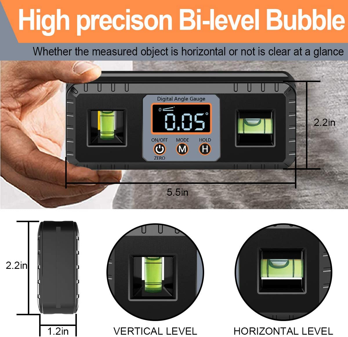 Woodworking etc Angle Gauge with Magnetic Base//VA LCD Display//Vertical /& Horizontal Spirit Bubble eOUTIL Digital Angle Finder Magnetic Protractor Inclinometer Building for Automobile Table Saw