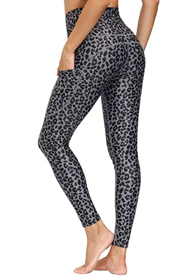 Libin Womens High Waisted Yoga Pants with Pockets Full Length Printed Athletic Running Workout Leggings