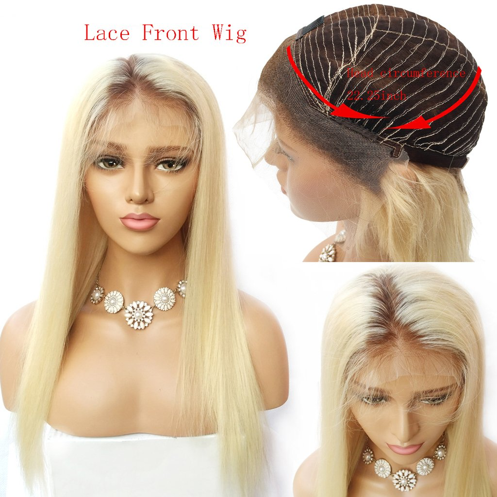 Nobel Hair #4/613 Blonde Peruvian Virgin Human hair Lace Front Wigs for Women With Baby Hair Pre Plucked Ombre Human Hair Wigs Straight Glueless Lace Wigs 18Inch Nobel Hair Product CO.Ltd