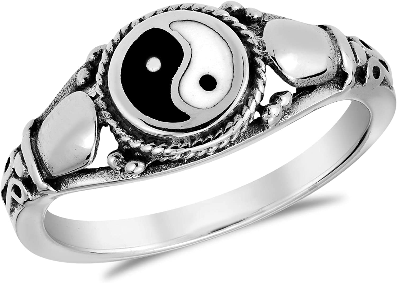 AeraVida Timeless Yin and Yang Cobra Symbol .925 Sterling Silver Ring
