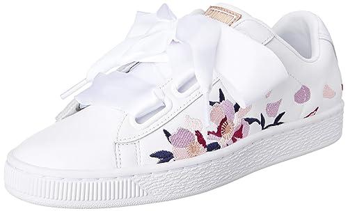 c310e54c1e83 Puma Men s Basket Heart Flowery Wn PumaWhite-CopperRose Sneakers-4 UK India  (