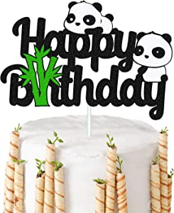 Panda Cake Topper Happy Birthday Sign Cake Decorations for Kids Girl Boy Panda Bear Themed First 7th 8th 9th Birthday Baby Shower Party Supplies Black Glitter Decor