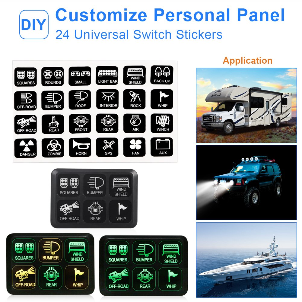 waterwich 6 gang switch panel electronic relay system circuit control box  waterproof fuse relay box wiring harness assemblies for car auto truck boat  marine