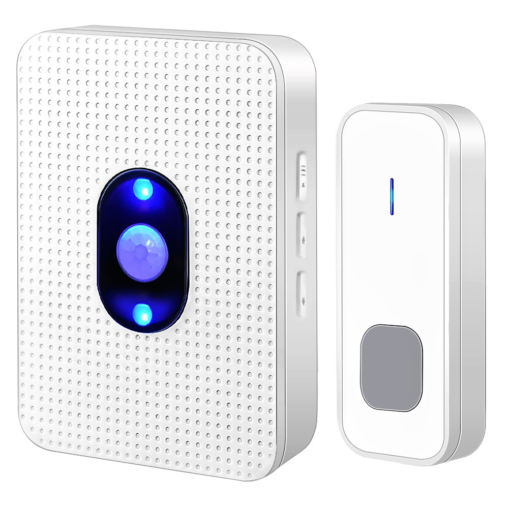 Wireless Doorbell ,Waterproof Door Chime Kit with 1 Push Button,1 Plug-in Receiver,55 Melodies ,5 Level Volume,Night Light and LED Indicator Operating at 1000ft for Home Office