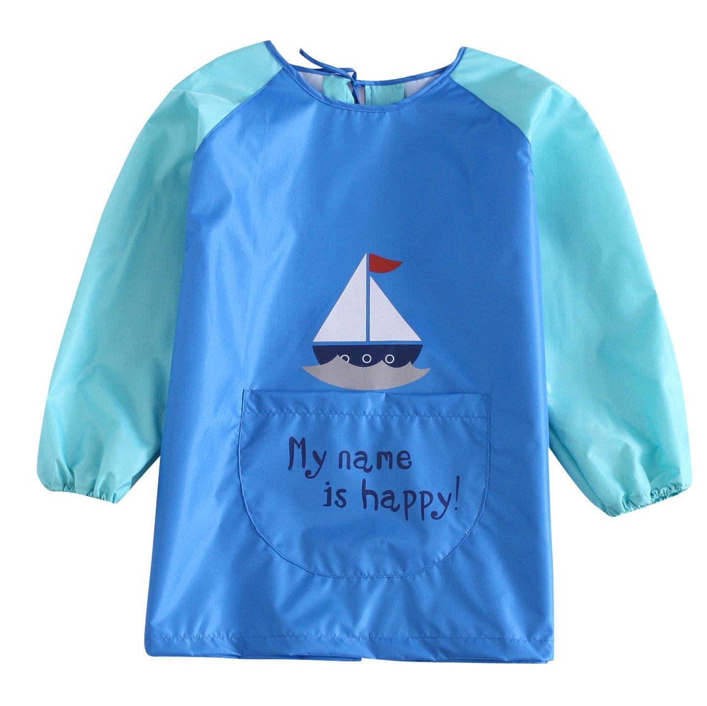 KIDS MAM DAD Unisex Baby Long Sleeves Apron Waterproof Cartoon Animal Pattern Art Craft Bib Smock Light Blue Age 2 to 4 Years