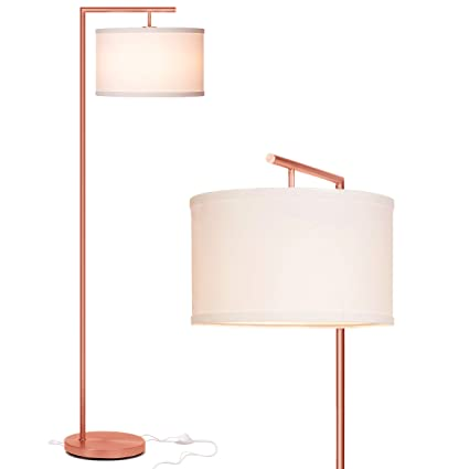 Brightech Montage Modern Led Floor Lamp For Living Room Standing Accent Light For Bedrooms Office Tall Pole Lamp With Hanging Drum Shade Rose