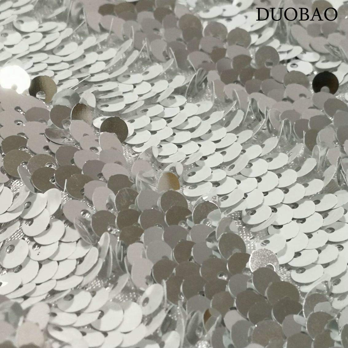 DUOBAO Sequin Backdrop 20FTx10FT White to Silver Wedding Pics Backdrop Mermaid Reversible Sequin Photo Backdrop Baby Shower Curtains by DUOBAO (Image #6)