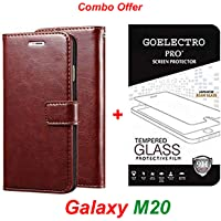Goelectro Samsung Galaxy M20 / Galaxy M20 (Combo Offer) Leather Dairy Flip Case Stand with Magnetic Closure & Card Holder Cover + Tempered Glass Full Screen Protection (Brown-Transparent)