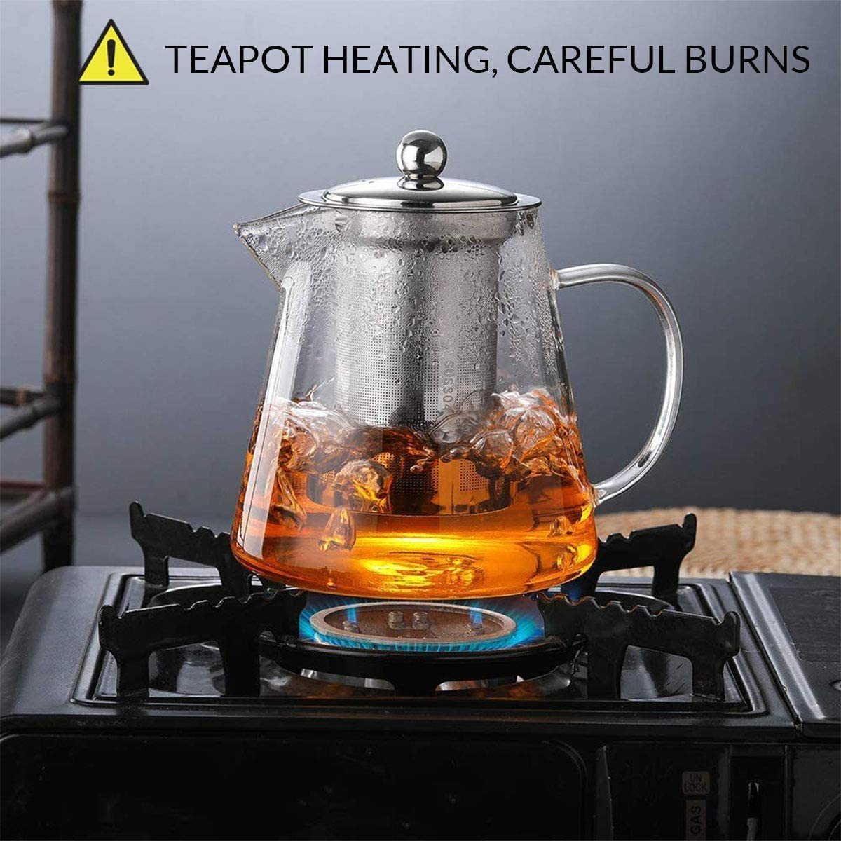 Tea Kettles Stovetop Glass Teapot Tea Kettle with Removable Infuser for Blooming and Loose Leaf - 450ML/15oz