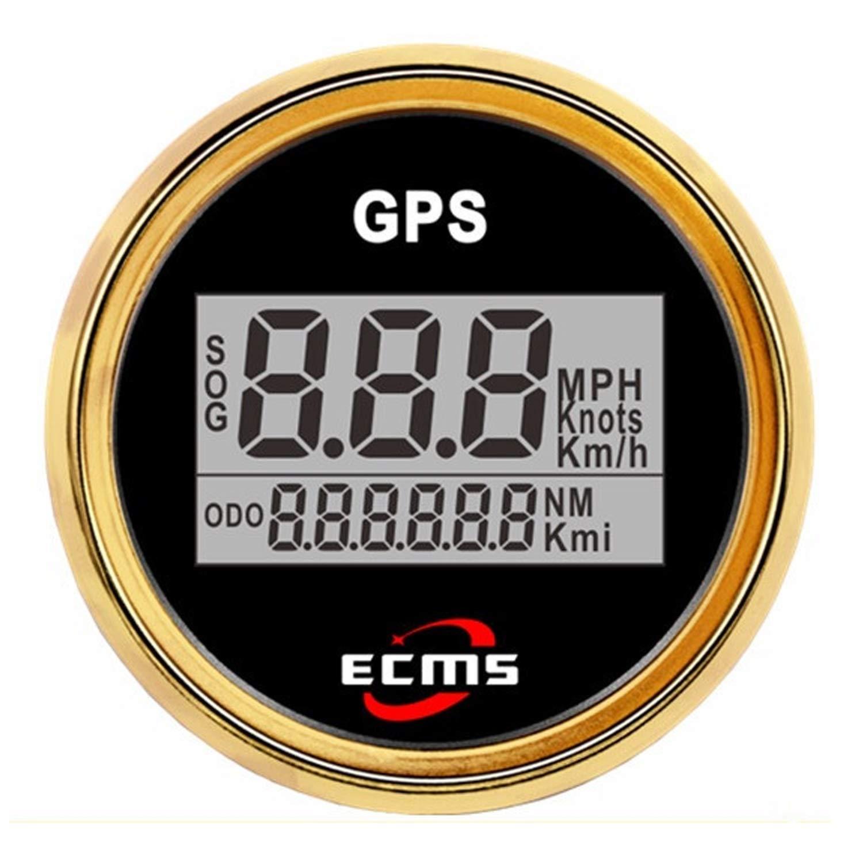 52mm 2 Inch Digital LCD GPS Speedometer for Motorcycle//Marine Boats//Vehicle Waterproof IP67 High precision Multi-function