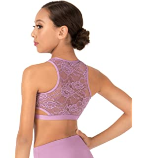 69aaababaa2 Amazon.com  Body Wrappers Girls Lace Long Sleeve Dance Crop Top ...