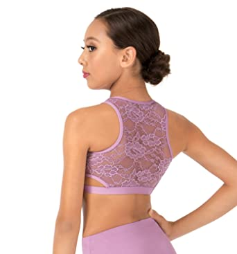 77cb7f45d6f Body Wrappers Girls Lace Back Tank Dance Crop Top (LC1023) at Amazon ...
