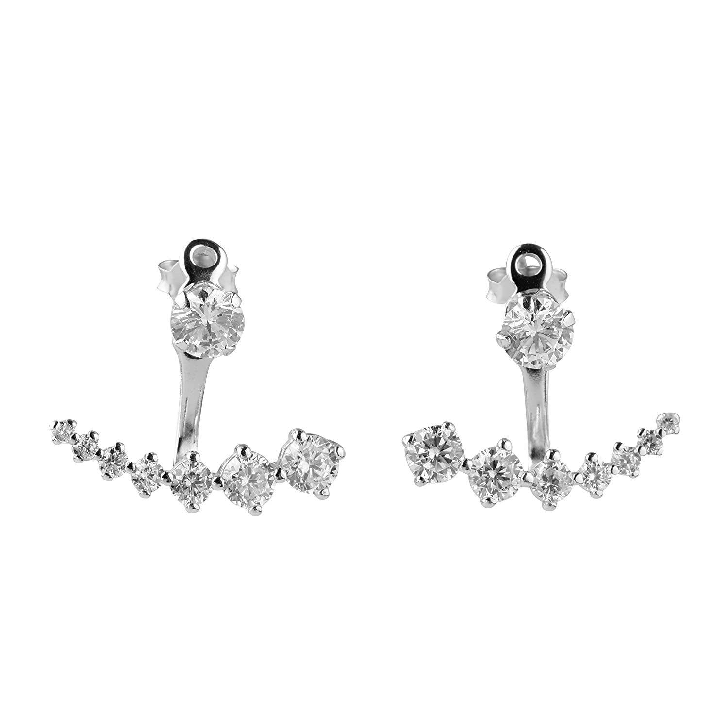 blackbox Jewelry Sterling Silver Square White Cubic Zirconia Ear Jacket Earrings Two Side Earrings Quality Choices 56