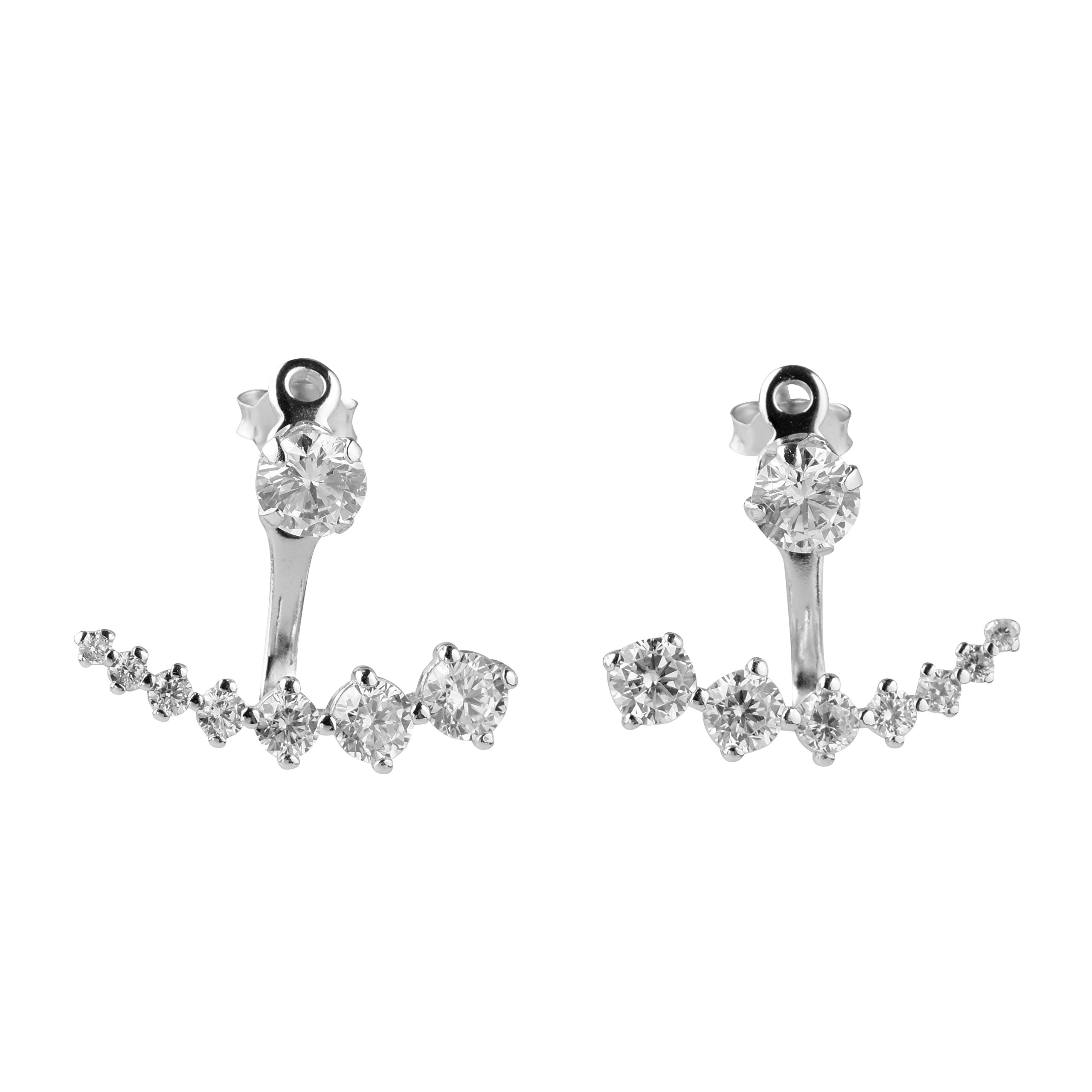blackbox Jewelry Sterling Silver Square White Cubic Zirconia Ear Jacket Earrings Two Side Earrings