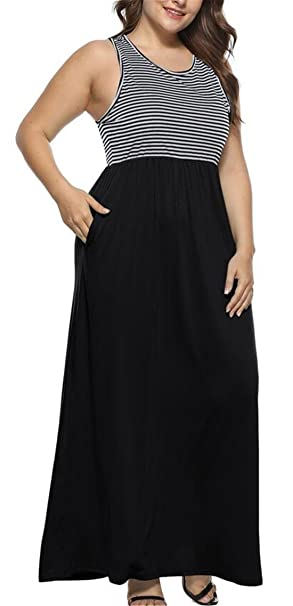 03e7e326261 Pivaconis Women Striped Plus Size Maxi Dress Sleeveless Tank Dress with Pockets  Black US M
