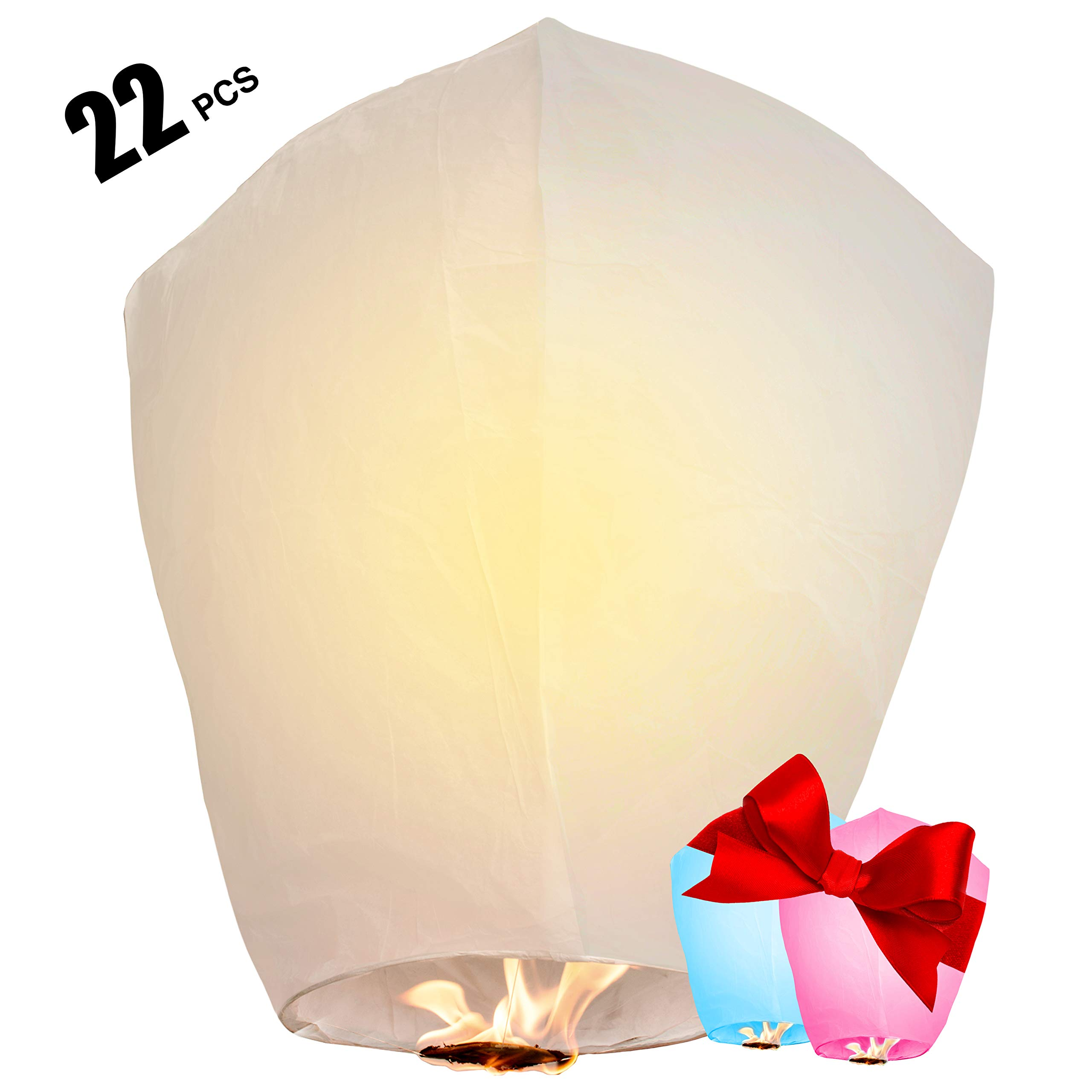 Chinese Lanterns 22-Pack - 100% Biodegradable, Paper Lantern - Japanese Lantern for Weddings, Celebrations, Memorial Ceremonies - White Wish Lanterns, 2 Bonus Colourful Lanterns Blue & Pink
