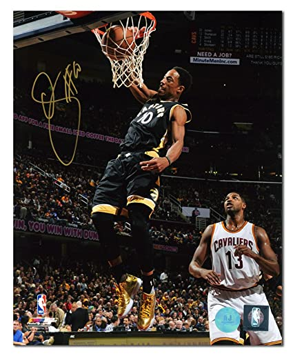 DeMar DeRozan Toronto Raptors Autographed Liquid Gold Shoes Dunk 8x10 Photo 7c8691364