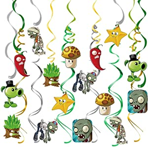 TGE-V Plant vs Zombie Birthday Party Supplies Hanging Swirls with 8 Different PVZ Patterns, Walking Zombies Theme Hanging Swirl Decorations for PVZ Party Supplies Decorations/Kids Room Decor, 28pcs