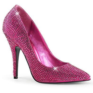 Amazon.com | Women Amazing Hot Pink Rhinestone Pumps Shoes with 5 ...