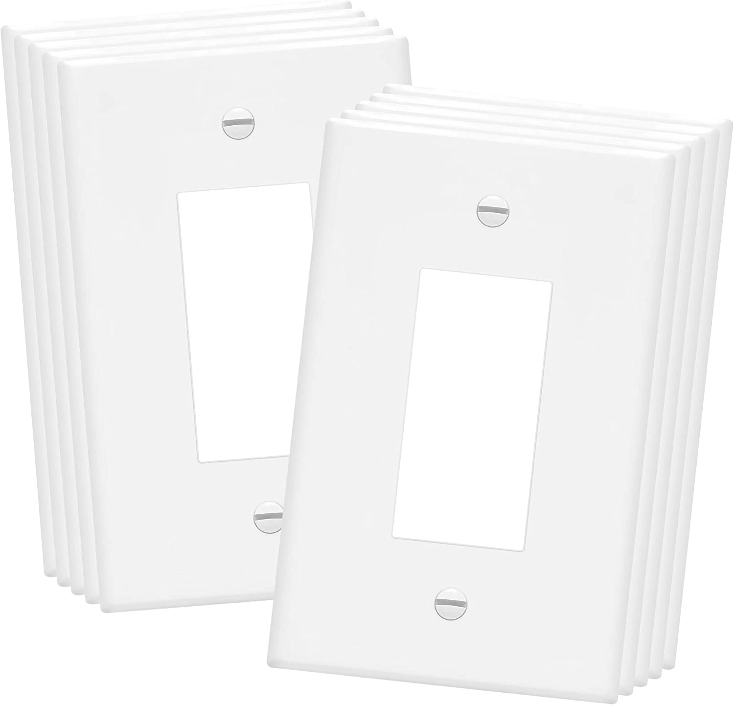 "ENERLITES Decorator Light Switch or Receptacle Outlet Wall Plate, Over-Size 1-Gang 5.5"" x 3.5"", Unbreakable Polycarbonate Thermoplastic, UL Listed, 8831O-W-10PCS, White (10 Pack)"