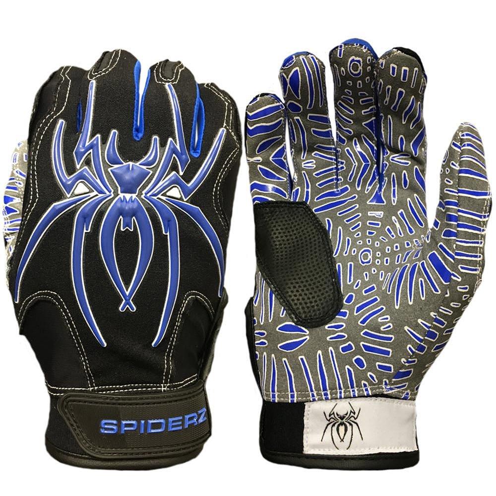 Spiderz大人用ハイブリッドバッティンググローブシリコンWeb Palm B07CCH4BD2ブラック/ホワイト/ブルー X-Large