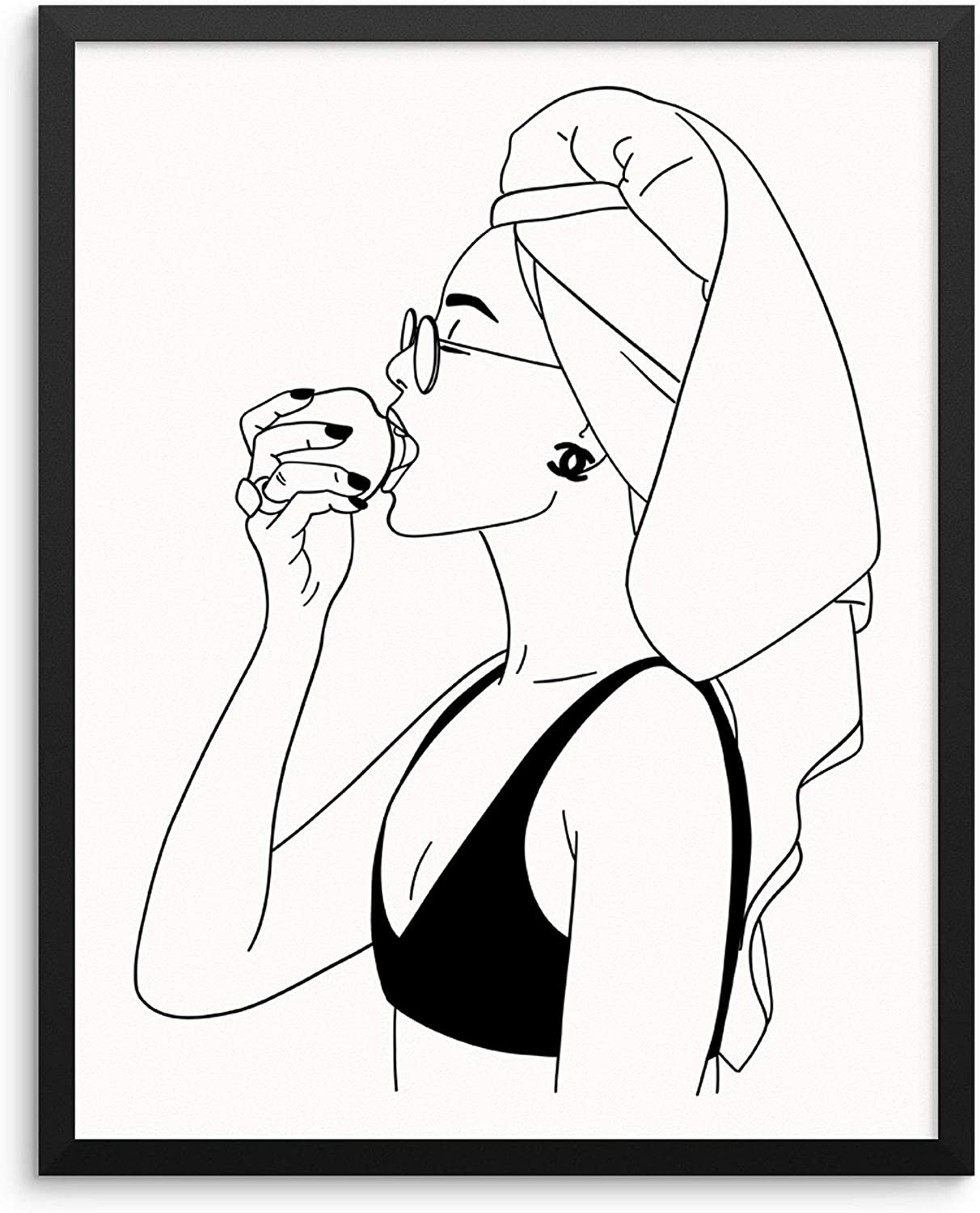 """Sincerely, Not Abstract Woman's Body Shape Wall Decor Art Print Poster -11""""x14"""" UNFRAMED- Modern One Line Minimalist Fashion Artwork for Bedroom Living Room Bathroom Home Office"""