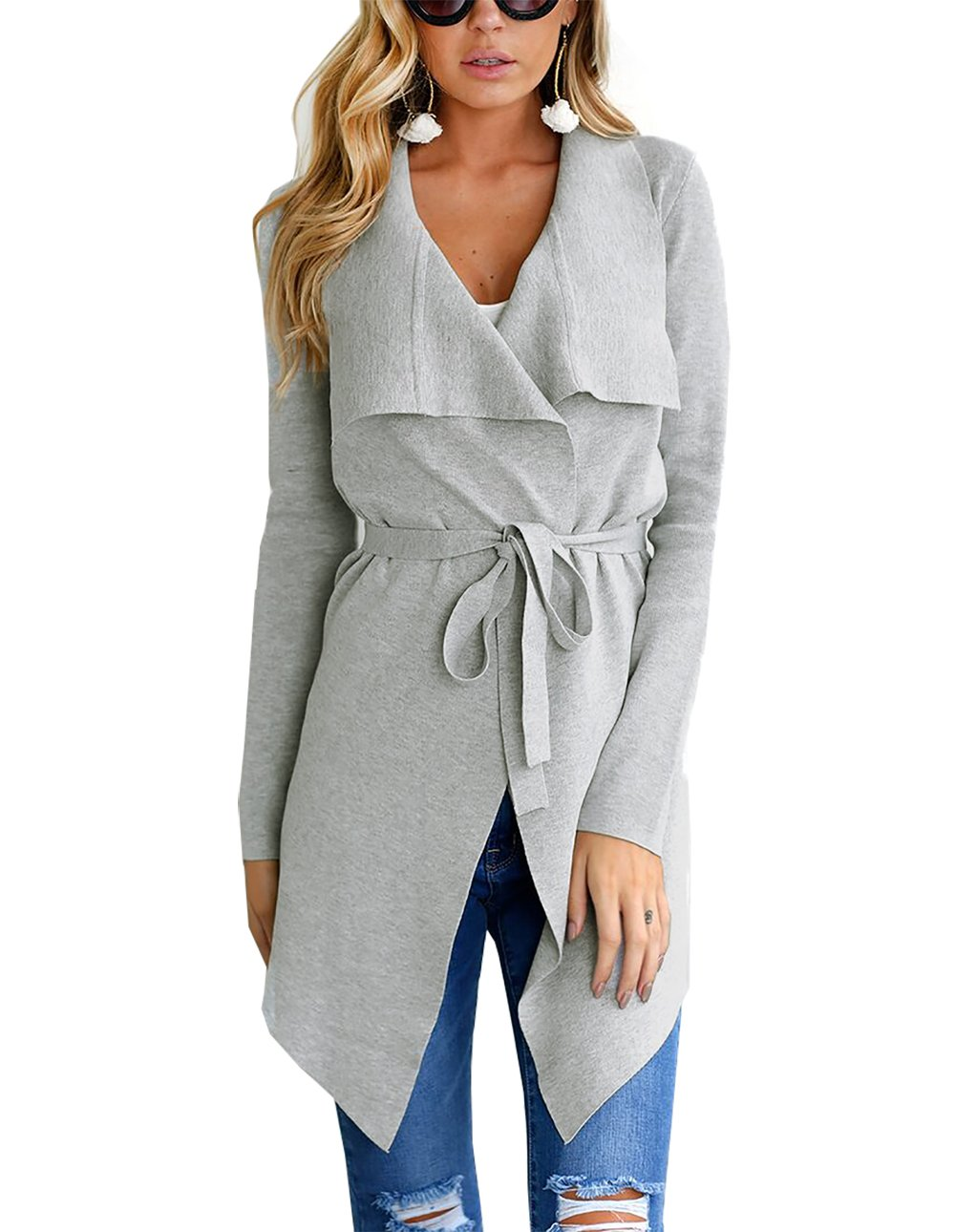 PRETTYGARDEN Women's Open Front Long Sleeve Raw Cut Hem Waterfall Collar Irregular Trench Coat Cardigan with Belt (Grey, Medium)