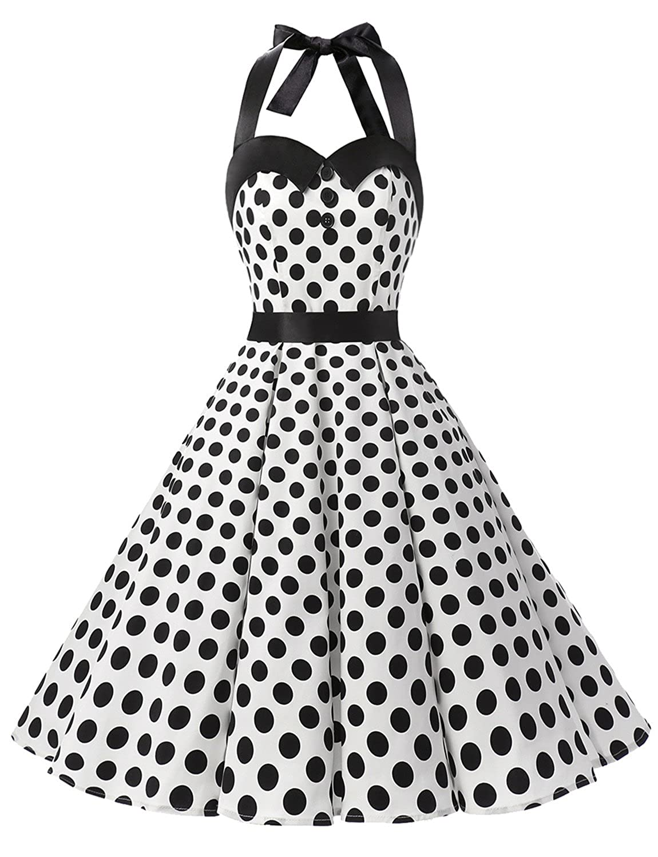 TALLA XXL. Dressystar Vestidos Corto Cuello Halter Estampado Flores y Lunares Vintage Retro Fiesta 50s 60s Rockabilly Mujer White Black Dot XXL
