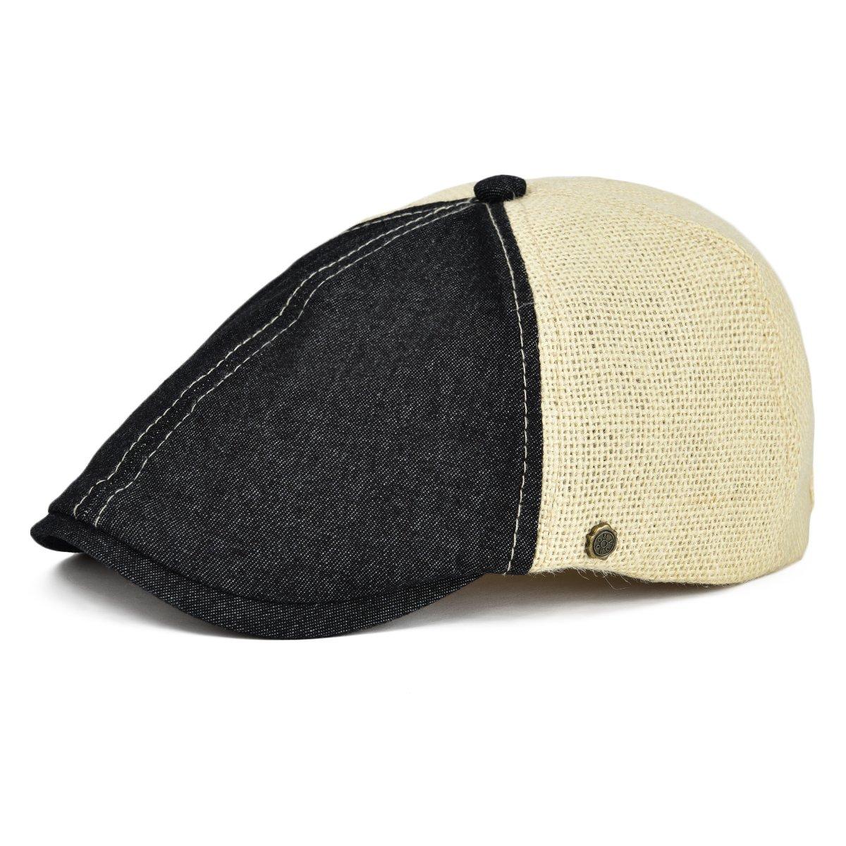 2edbd412c59 VOBOOM Ivy Caps Breathable Cotton Hemp Fabric Flat Caps Cabbie Hat (One  Adjustable Size 58cm-60cm 7 1 4-7 1 2